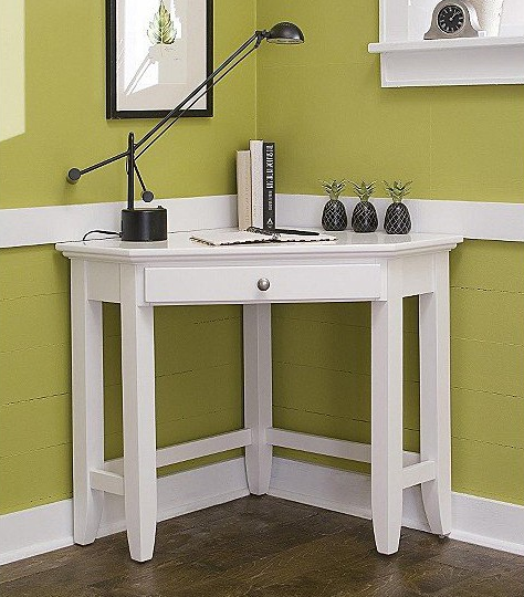 Corner Desk: Naples Corner Lap Top Desk In White