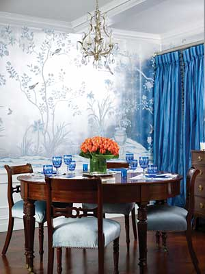 The Glam Pad: Blue de Gournay and Gracie Wallpapered PJs - Cream Elegant Dining Room Wallpaper