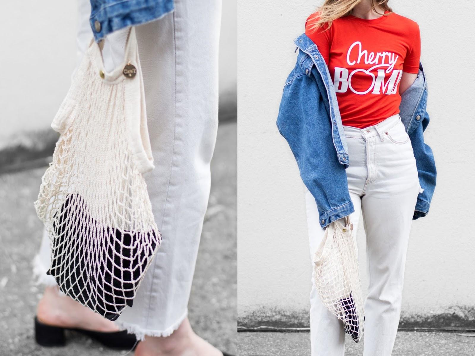 Favorite outfit - Scandinavian designer t-shirt - Ganni - Clare V. netty bag