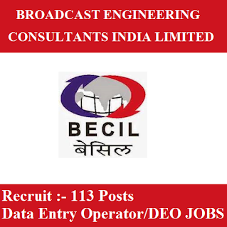Broadcast Engineering Consultants India Ltd., BECIL, Delhi, NCR, Data Entry Operator, DEO, 12th, freejobalert, Sarkari Naukri, Latest Jobs, becil logo
