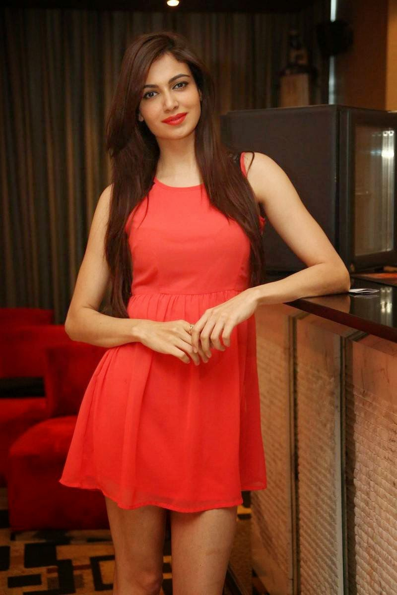 Simran Kaur Mundi Wallpapers, Simran Kaur Mundi Long Legs hot Pics in Red short Dress & Boots