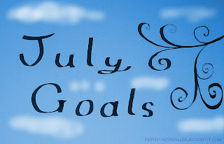 July Goals, handwritten on a cloudy sky.