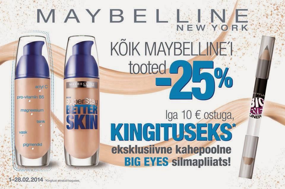 d916e193b16 Mina ostsin kreemi 13,50€, aga Ideaal Kosmeetikas on kõik Maybelline tooted  praegu -25%, nii et kasutage võimalust.