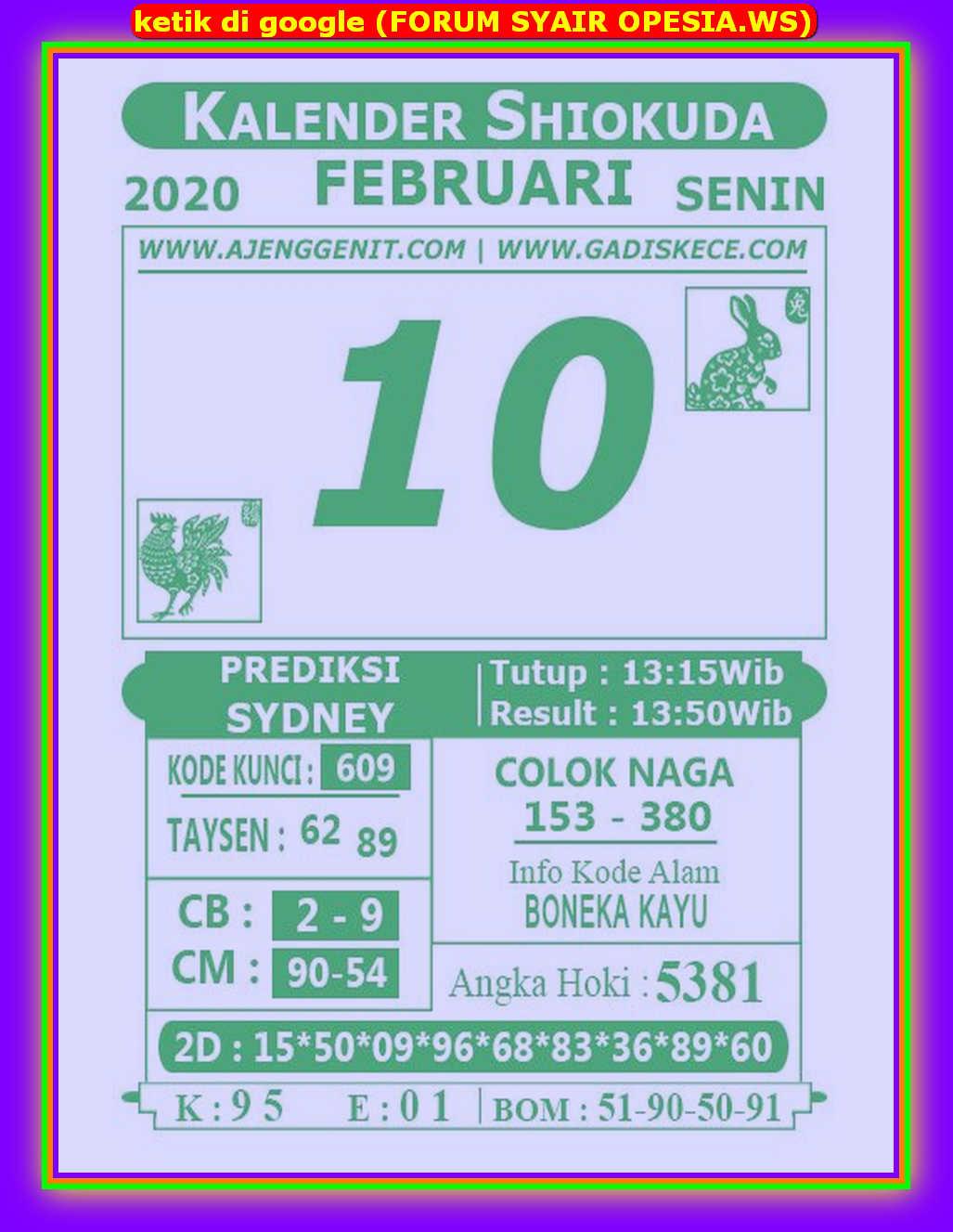 Kode syair Sydney Senin 10 Februari 2020 75