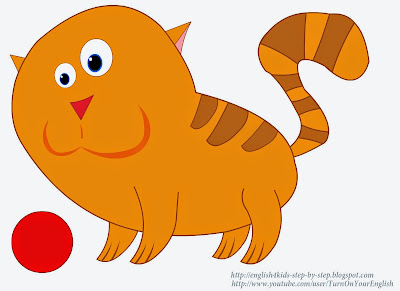 playing red cat clipart