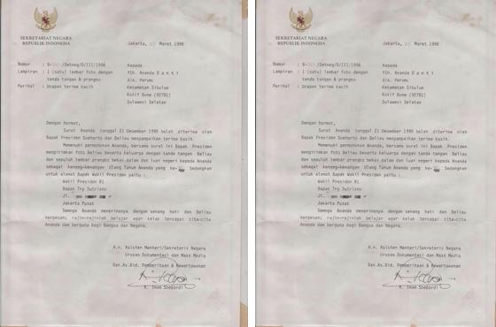 Surat Balasan Presiden Soeharto Pada Anak di Bone Tahun 1996