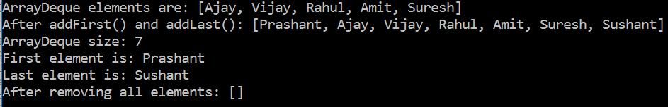 ArrayDeque in Java with example