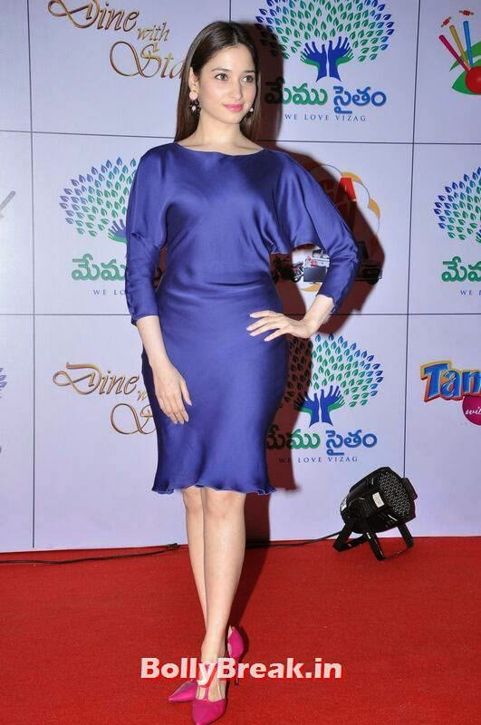 Tamanna Photoshoot Stills, Tamanna Bhatia Hot Pics in Blue Dress