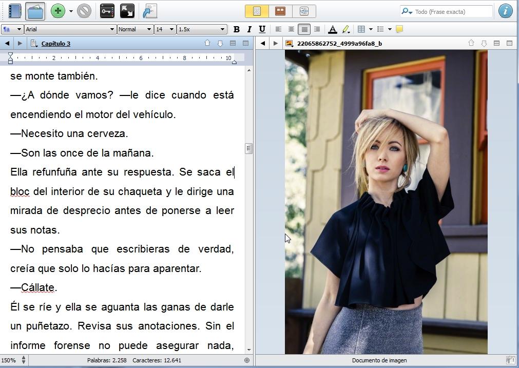 pantalla partida en scrivener