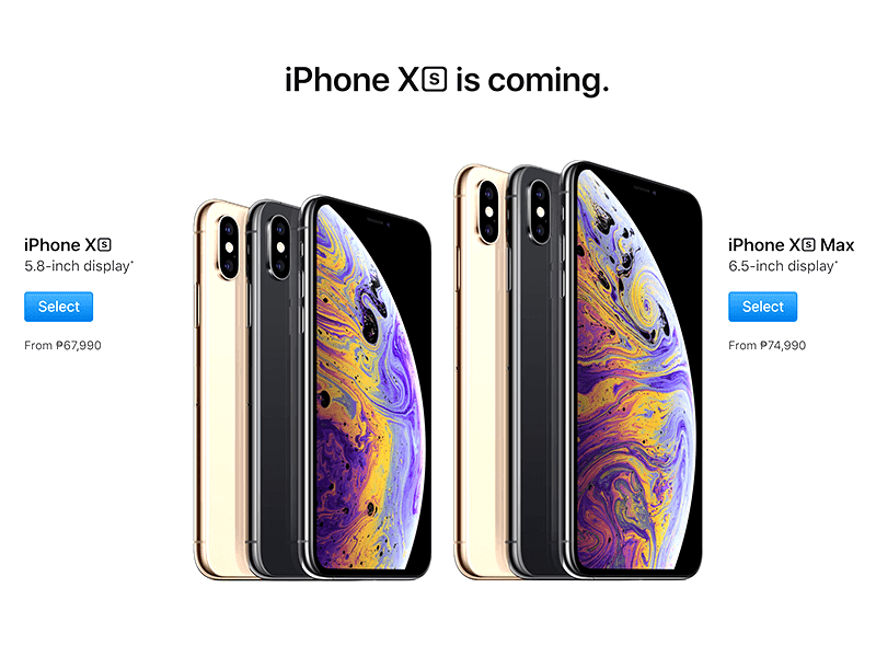 Apple iPhone XR, XS, and XS Max, now priced at PH website