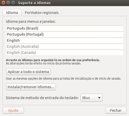 suporte de idiomas do ubuntu 16 10