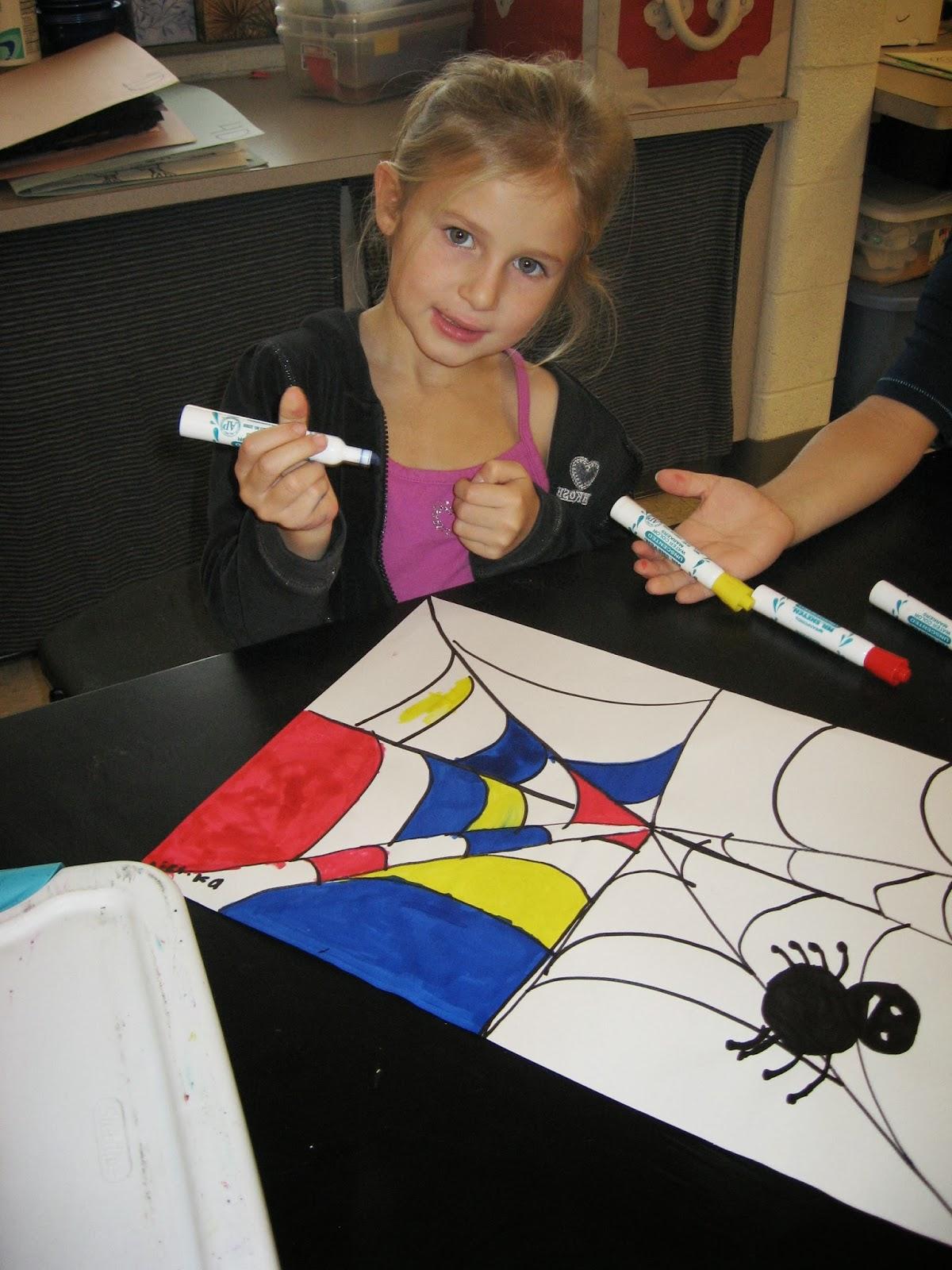Jamestown Elementary Art Blog Kindergarten Artists Piet Mondrain Spiders With Primary Colors