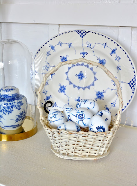 Blue and White Easter Eggs in a vintage white basket