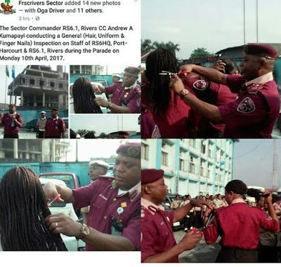 frsc official cutting women hair with scissors