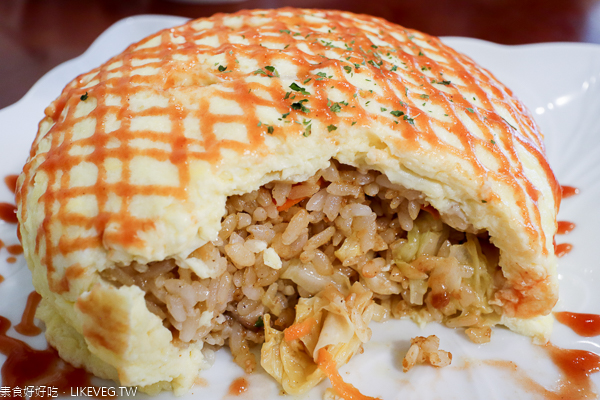 台中大里分享蔬食|蛋包飯份量多,素食套餐平價,同料理第2件8折