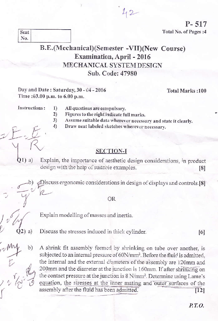 Su B E Mechanical Mechanical System Design April 2016 Question Paper University Question Papers