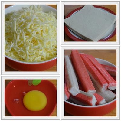 AMIE'S LITTLE KITCHEN: Popia Isi Ketam Berkeju ( Creamy Crabstick Rolls)