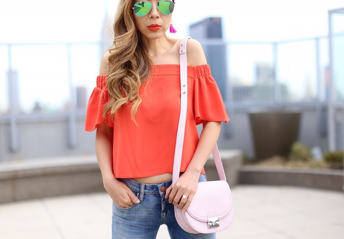 Topshop Livi Off the Shoulder Top, off shoulder top, blank denim jeans, rayban sunglasses, Loeffler Randall Saddle Cross Body Bag, baublebar earrings, jeffrey campbell sandals, colorful outfit, spring outfit ideas, tory burch sale, tory burch bags, tory burch shoes, nyc street style