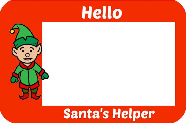 Printable Santas Helper Badge Red