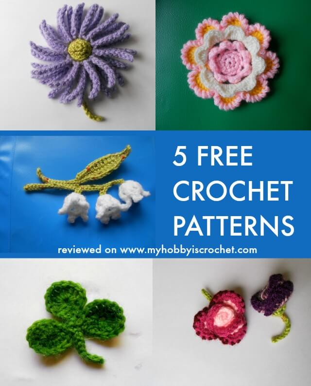 4  Free Crochet Flower Pattern and a Clover Leaf  - Review