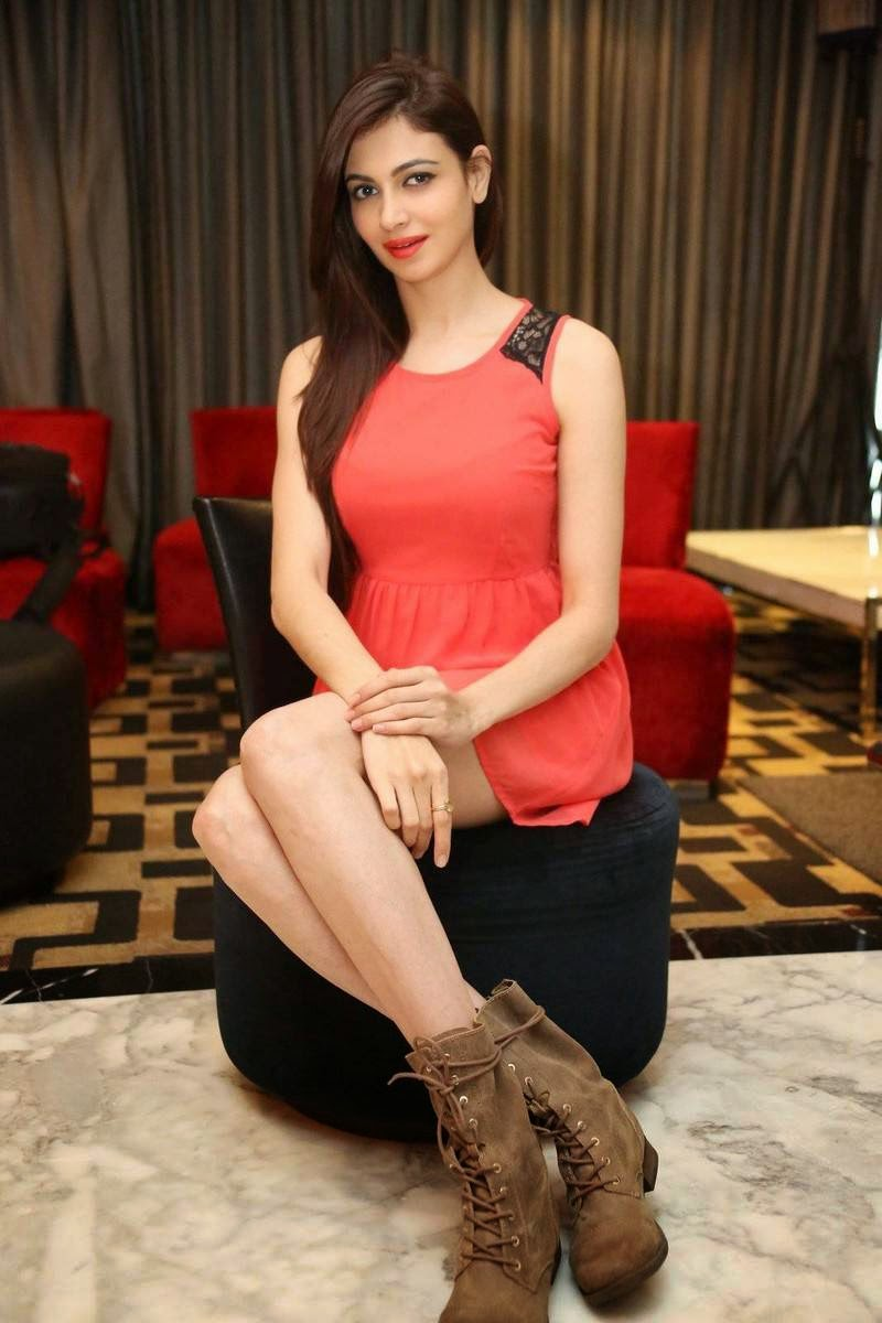 Actress Simran Kaur Mundi Photos, Simran Kaur Mundi Long Legs hot Pics in Red short Dress & Boots