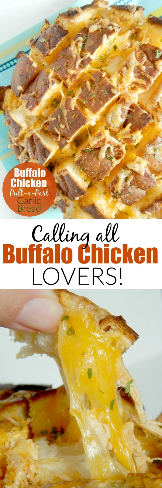 Buffalo Chicken Pull-a-Part Garlic Bread...the ultimate party appetizer for all the buffalo sauce lovers! (sweetandsavoryfood.com)