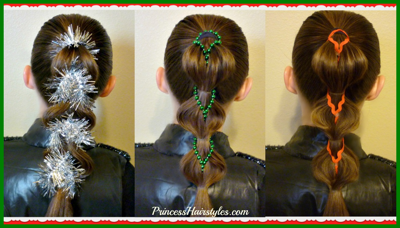 3 Cute Christmas Hairstyles Decorated Pull Through Braids Video Tutorial