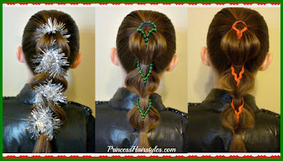 3 cute Christmas hairstyles! Decorated pull through braids, video tutorial.