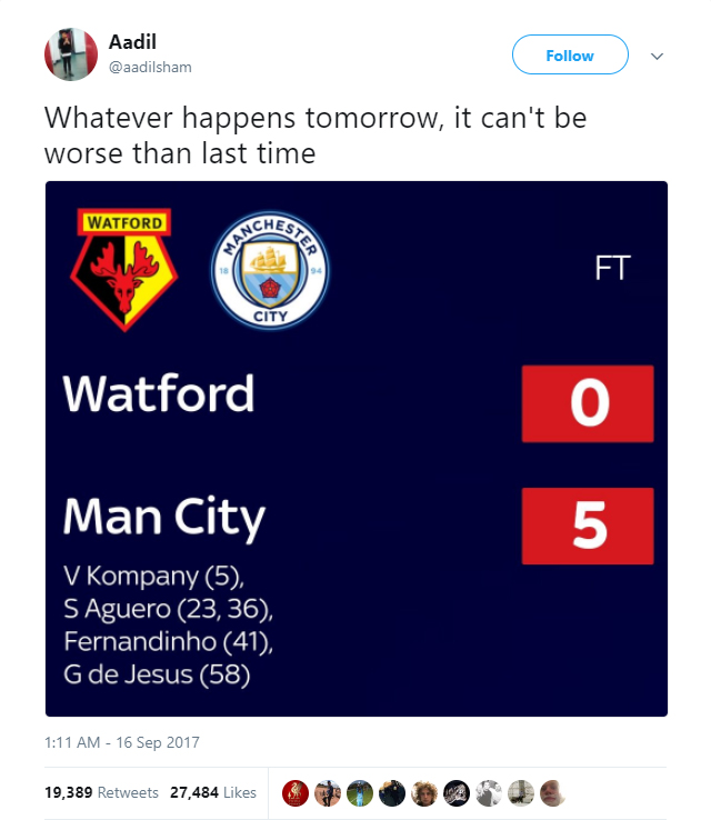 Watford fan @aadilsham tweets his own prediction for the Manchester City game