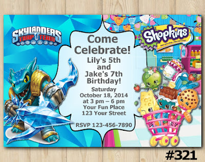 Twin Skylanders and Shopkins Birthday Invitation