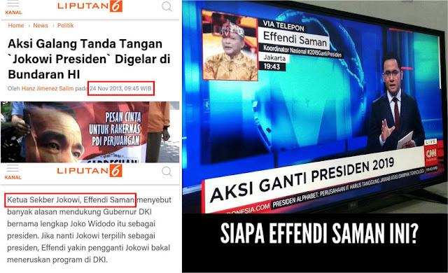 Ngaku-ngaku Koordinator #2019GantiPresiden, Jejak Digital Effendi Saman Terbongkar