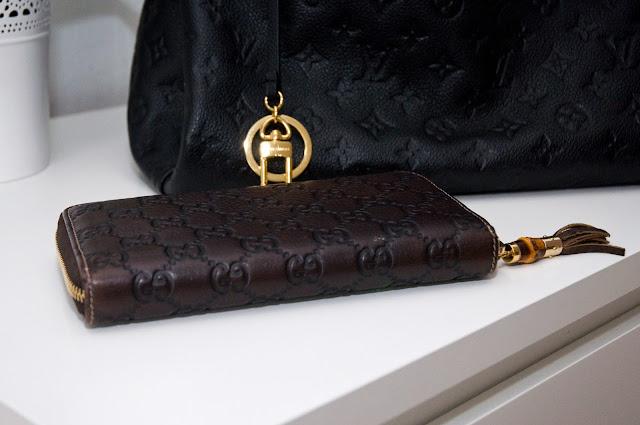 Brązowy markowy portfel Gucci