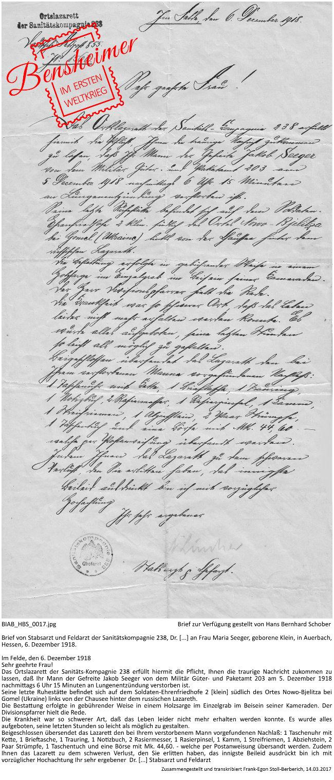 BIAB_HBS_0017.jpg Brief an Frau Maria Seegers aus Auerbach (heute Bensheim-Auerbach) vom Stabsarzt der Sanitätskompagnie 238 vom 6. Dezember 1918. Brief zur Verfügung gestellt durch Hans Bernhard Schober, Zusammengestellt und transkribiert von Frank-Egon Stoll-Berberich 2017