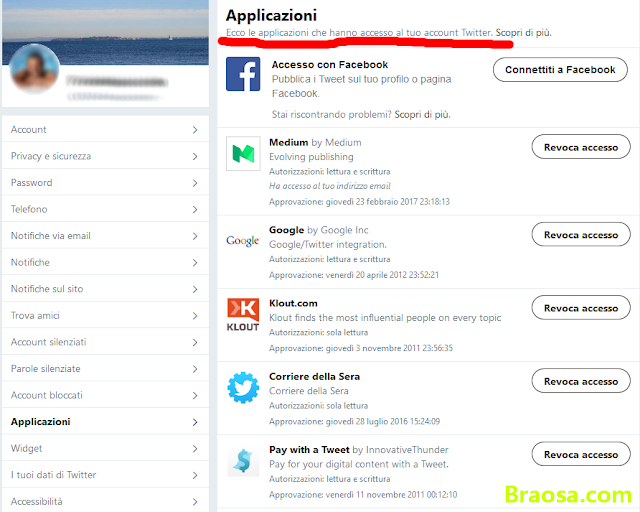 Eliminare applicazioni profilo Twitter