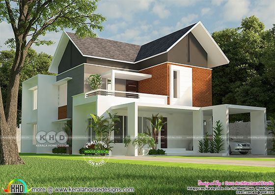 4 bedroom 2110 square feet sloping roof home design
