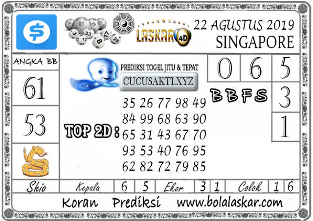 Prediksi Togel SINGAPORE LASKAR4D 22 AGUSTUS 2019