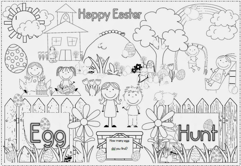 egg hunt coloring pages | Easter Egg Wreath and Photo Frame - Clever Classroom Blog