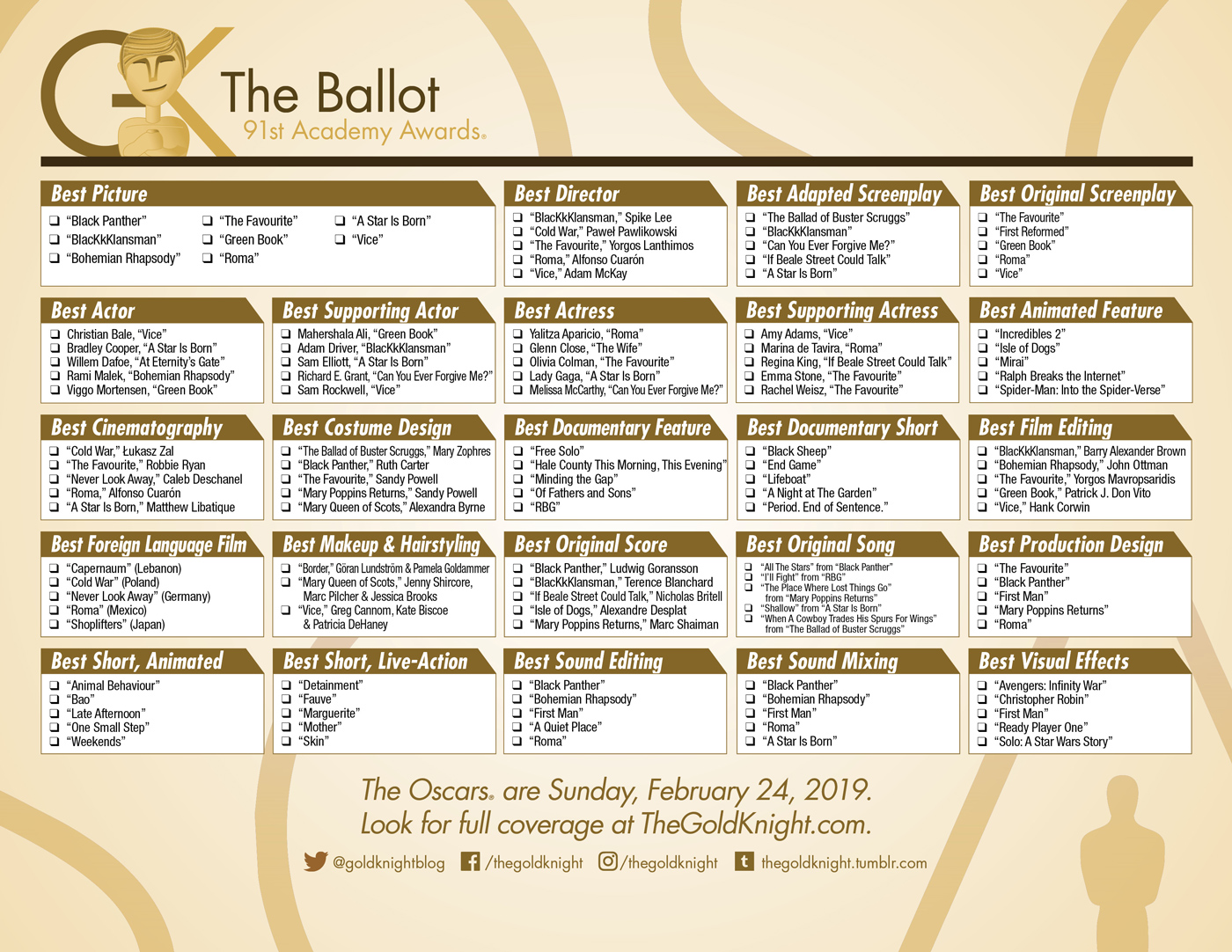 Oscars 2019 Download Our Printable Movie Checklist The