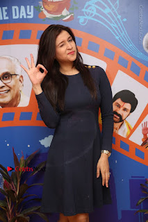 Actress Mannara Chopra Stills in Blue Short Dress at Rogue Song Launch at Radio City 91.1 FM  0021.jpg
