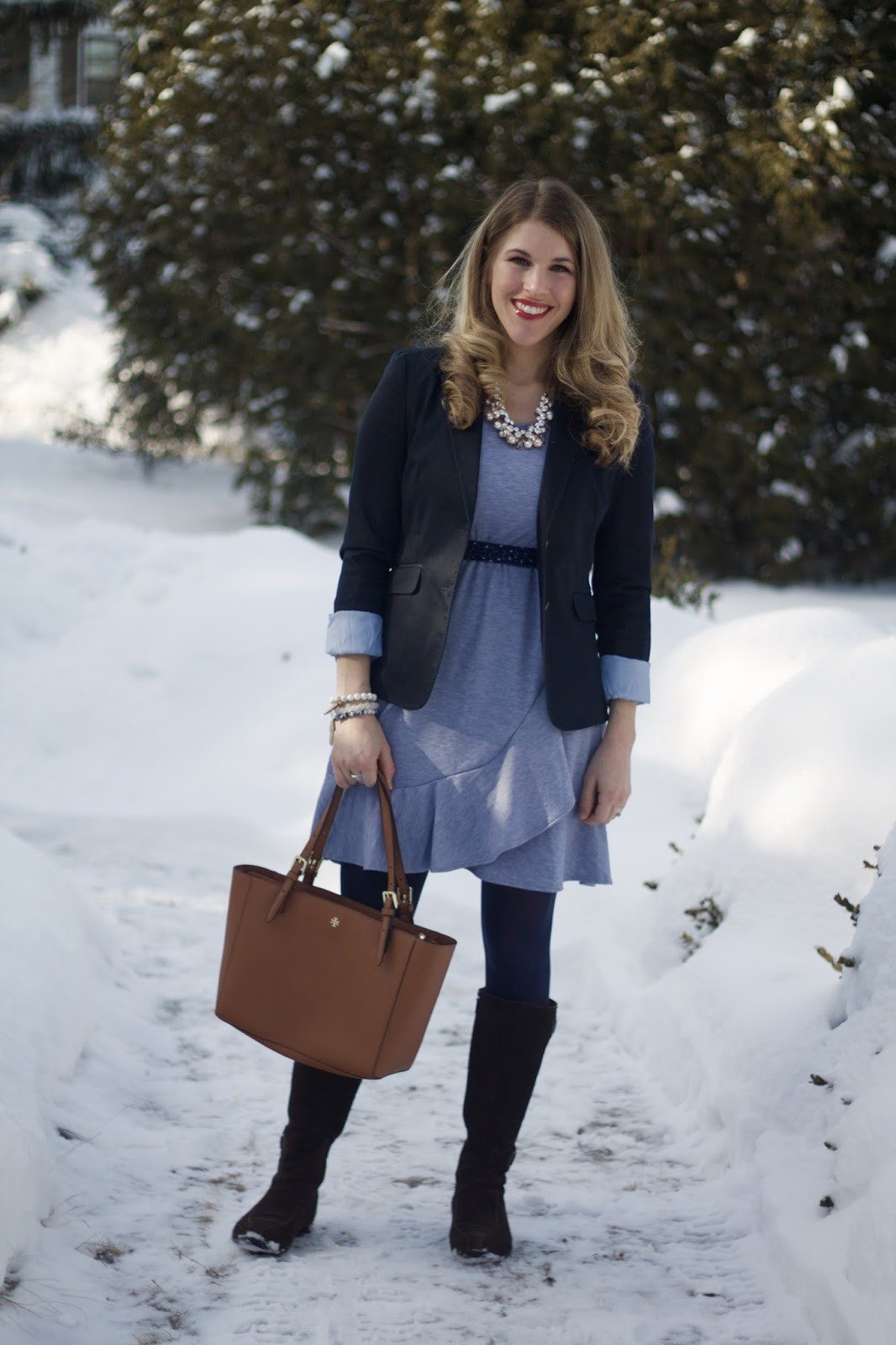 blue ruffled hem dress, navy blazer, brown suede riding boots, tory burch tote
