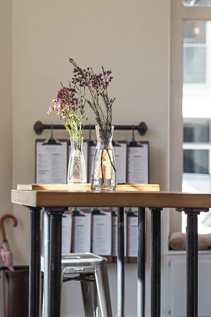 Purple flower table vases