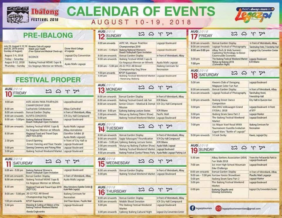 ibalong festival 2018 calendar of events