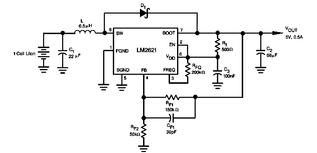 Circuits Apmilifier: LM2621 based 5V/0.5A Step Up