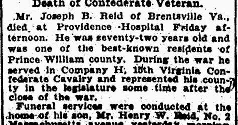Prince William County Genealogy: Sunday's Obituary: Joseph