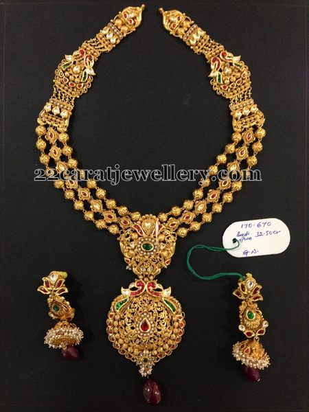 Antique Gold Beads Long Chain Jewellery Designs