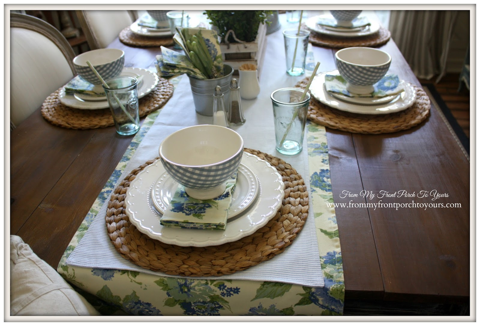 Farmhouse accessories used to create a spring brunch table setting.