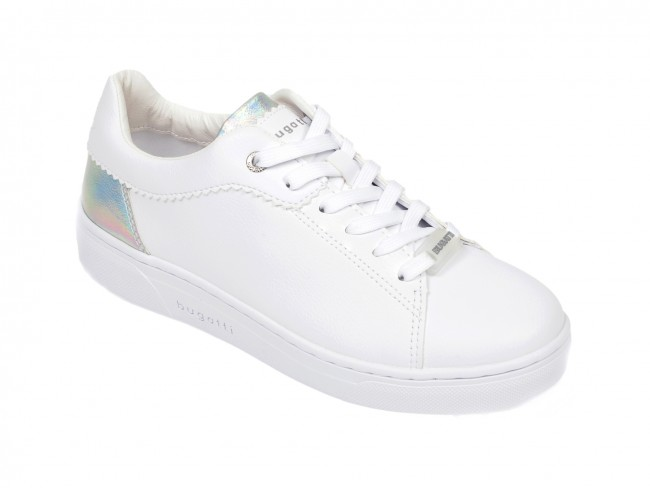 Pantofi sport dama  BUGATTI albi, din piele ecologica la reducere
