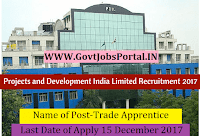 Projects Development India Limited Recruitment 2017– 48 Trade Apprentice