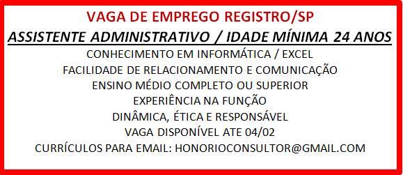 """VAGA DE EMPREGO """"ASSISTENTE ADMINISTRATIVO"""" EM REGISTRO-SP"""