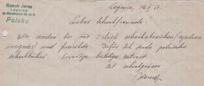 Carta desde Polonia a Ángel Ribera en 1957